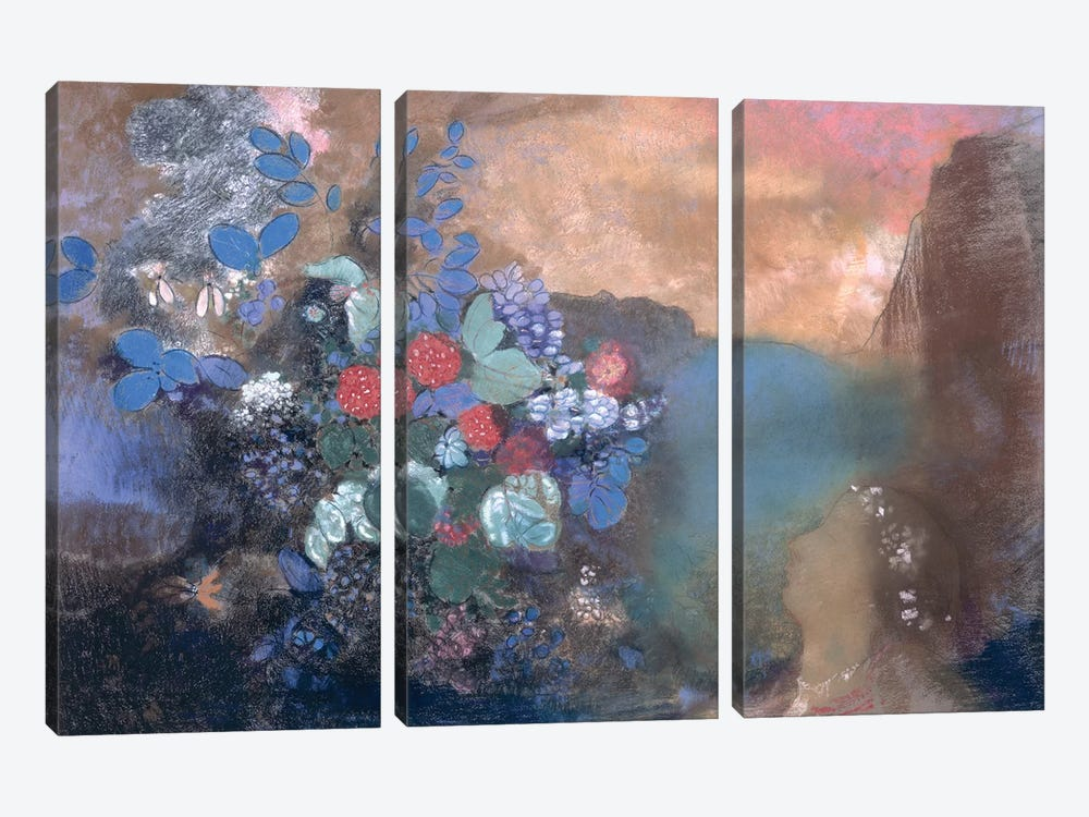 Ophelia among the Flowers, c.1905-8  by Odilon Redon 3-piece Canvas Wall Art