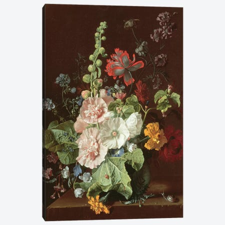 Hollyhocks and Other Flowers in a Vase, 1702-20  Canvas Print #BMN1458} by Jan van Huysum Canvas Art Print