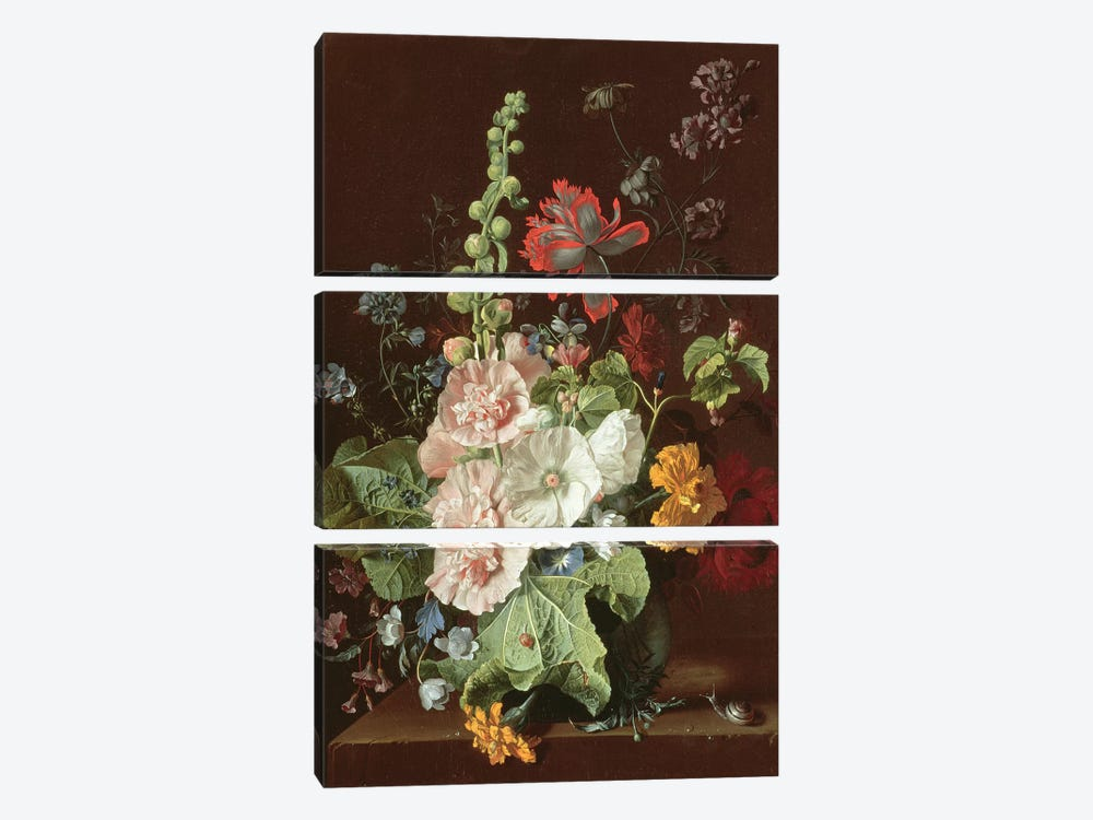 Hollyhocks and Other Flowers in a Vase, 1702-20  by Jan van Huysum 3-piece Art Print
