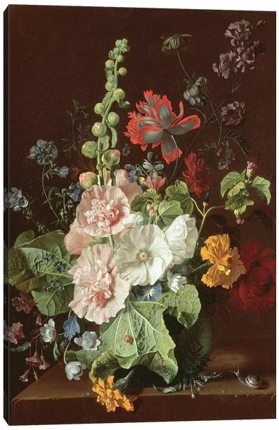 Hollyhocks and Other Flowers in a Vase, 1702-20  Canvas Art Print