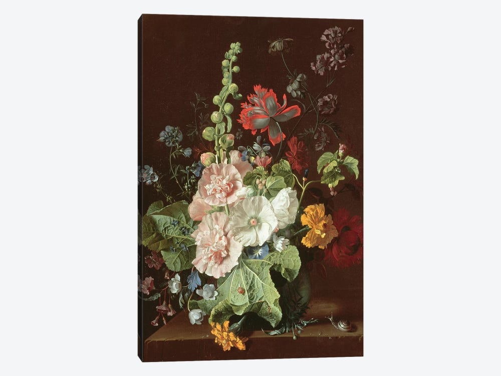 Hollyhocks and Other Flowers in a Vase, 1702-20  by Jan van Huysum 1-piece Canvas Print