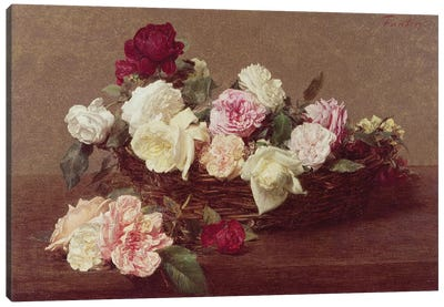 A Basket of Roses, 1890  Canvas Art Print