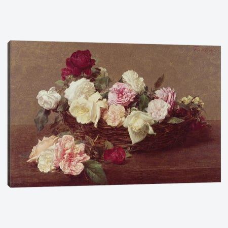 A Basket of Roses, 1890  Canvas Print #BMN1459} by Ignace Henri Jean Theodore Fantin-Latour Art Print