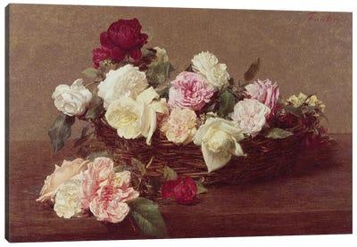 A Basket of Roses, 1890  Canvas Art Print