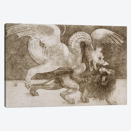 Fight between a Dragon and a Lion  Canvas Print #BMN1460} by Leonardo da Vinci Canvas Wall Art