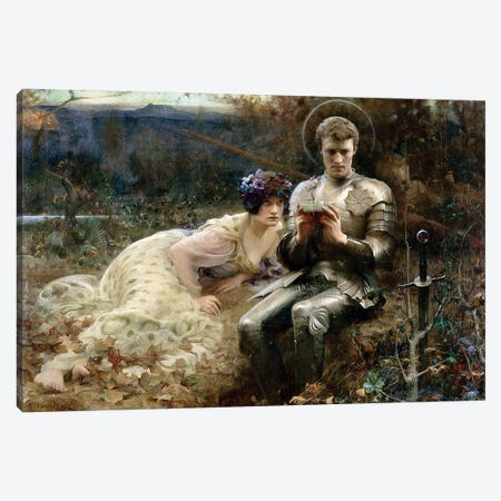 The Temptation of Sir Percival, 1894  Canvas Print #BMN1461} by Arthur Hacker Canvas Artwork