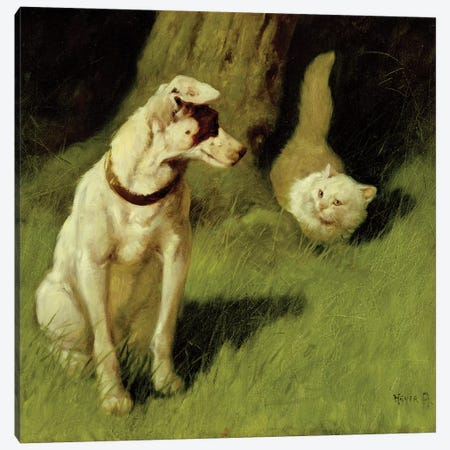 White Persian Cat and Jack Russell  Canvas Print #BMN1463} by Arthur Heyer Canvas Art