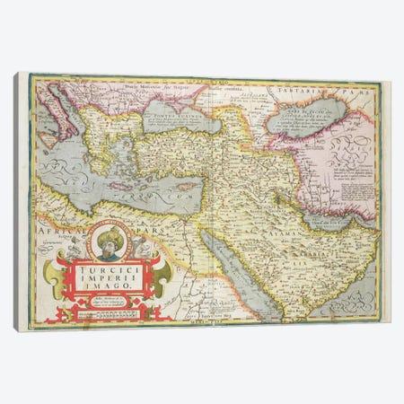 Map of the Turkish Empire, from the Mercator 'Atlas' pub. by Jodocus Hondius  Canvas Print #BMN1472} by Dutch School Art Print