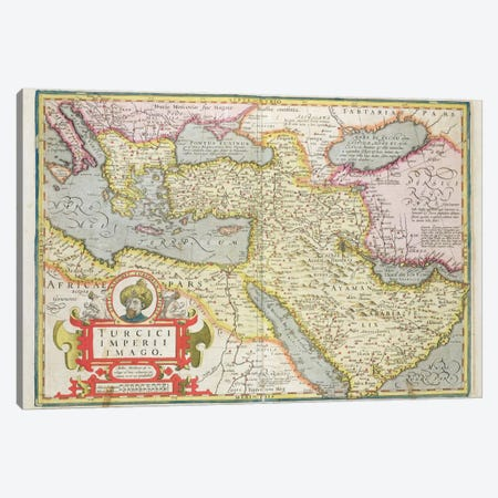 Map of the Turkish Empire, from the Mercator 'Atlas' pub. by Jodocus Hondius  Canvas Print #BMN1472} by Dutch School Art Print