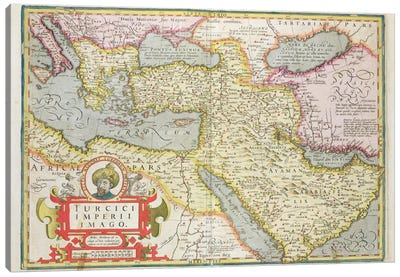 Map of the Turkish Empire, from the Mercator 'Atlas' pub. by Jodocus Hondius  Canvas Art Print