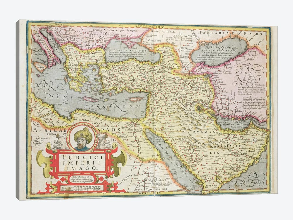 Map of the Turkish Empire, from the Mercator 'Atlas' pub. by Jodocus Hondius  by Dutch School 1-piece Canvas Art Print