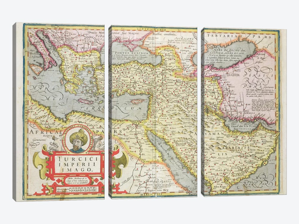 Map of the Turkish Empire, from the Mercator 'Atlas' pub. by Jodocus Hondius  by Dutch School 3-piece Art Print