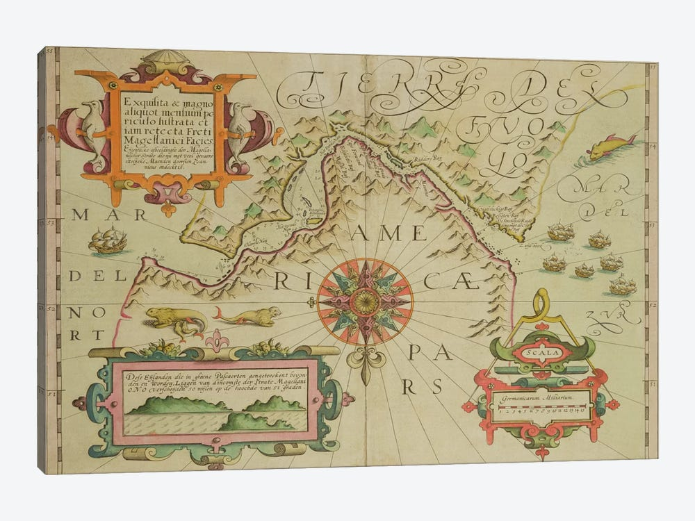 Map of the Magellan Straits, Patagonia, from the Mercator 'Atlas' pub. by Jodocus Hondius by Dutch School 1-piece Canvas Artwork