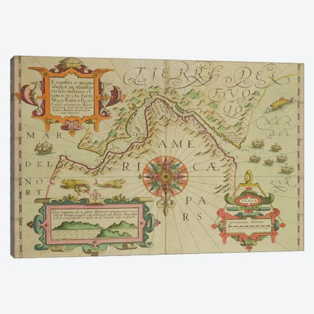 Map of the Magellan Straits, Patagonia, from the Mercator 'Atlas' pub. by Jodocus Hondius  Canvas Print #BMN1473} by Dutch School Canvas Art Print