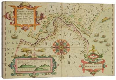 Map of the Magellan Straits, Patagonia, from the Mercator 'Atlas' pub. by Jodocus Hondius  Canvas Art Print