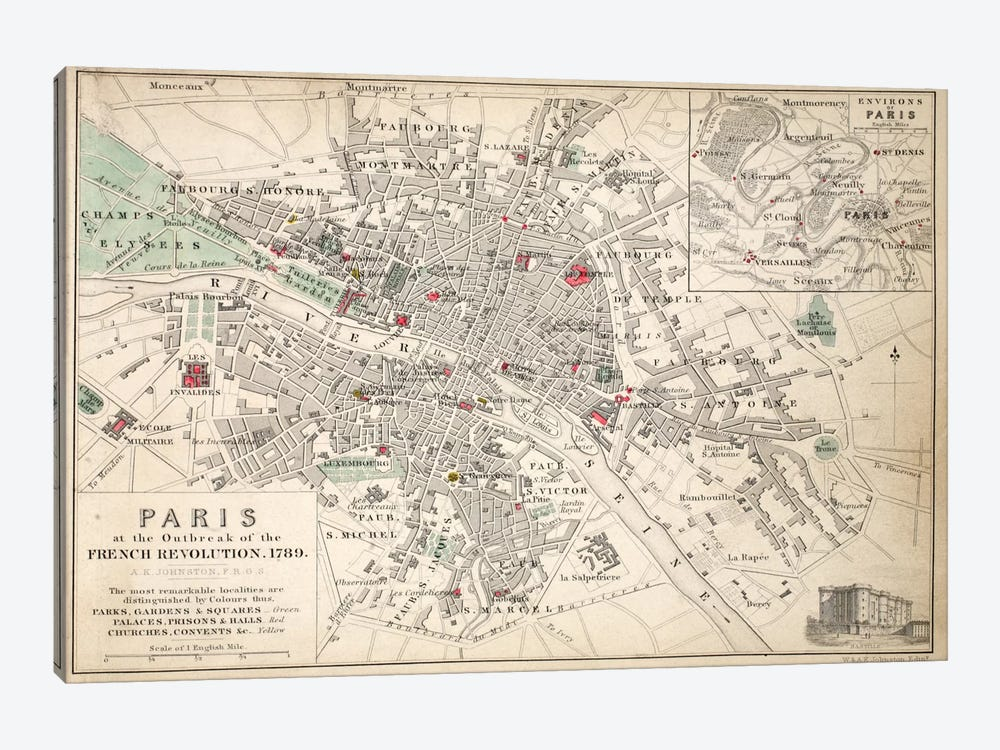 Paris at the outbreak of the French Revolution in 1789  by English School 1-piece Canvas Art Print