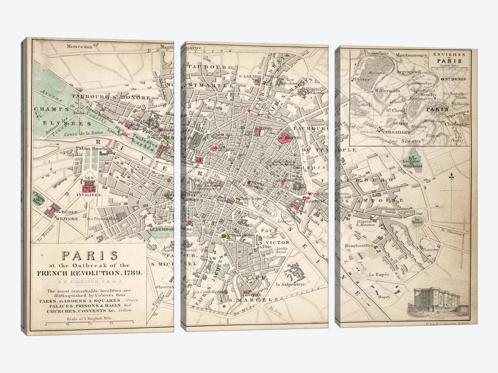 Paris at the outbreak of the French Revolution in 1789  by English School 3-piece Canvas Print