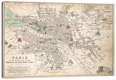 Paris at the outbreak of the French Revolution in 1789  Canvas Art Print