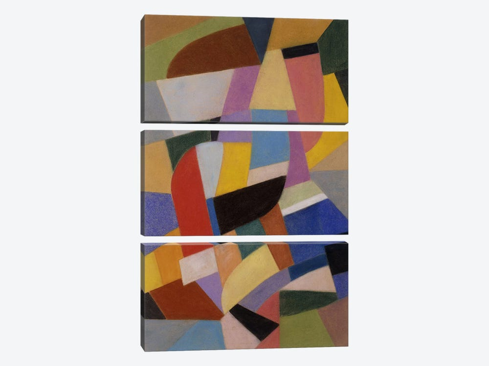 Composition; Komposition, c.1935-1937 (pastel on paper) by Otto Freundlich 3-piece Canvas Art Print
