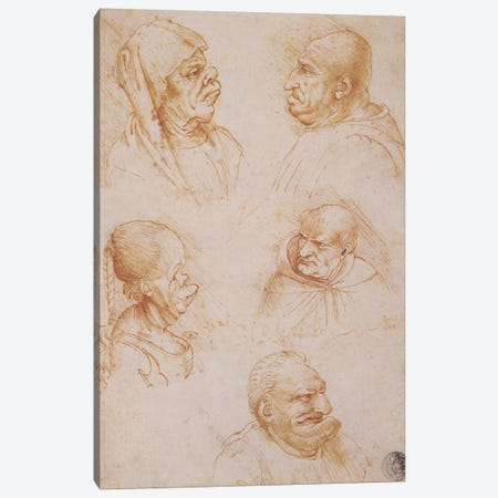 Five Studies of Grotesque Faces  Canvas Print #BMN1482} by Leonardo da Vinci Canvas Wall Art