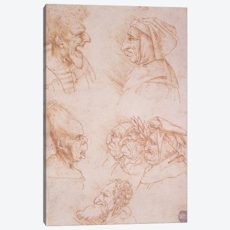 Seven Studies of Grotesque Faces  Canvas Print #BMN1483} by Leonardo da Vinci Canvas Art