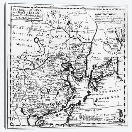 The Empire of China and Island of Japan, pub. in London  Canvas Print #BMN1490} by Hermann Moll Art Print
