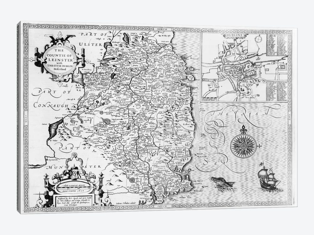 The County of Leinster with the City of Dublin Described, engraved by Jodocus Hondius by John Speed 1-piece Canvas Art