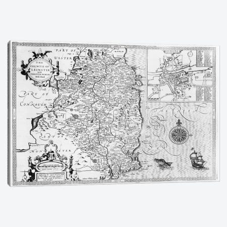 The County of Leinster with the City of Dublin Described, engraved by Jodocus Hondius  Canvas Print #BMN1491} by John Speed Art Print