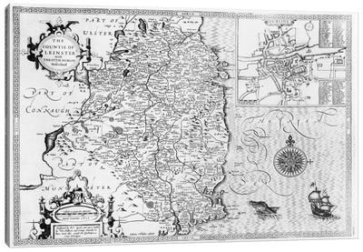 The County of Leinster with the City of Dublin Described, engraved by Jodocus Hondius  Canvas Art Print