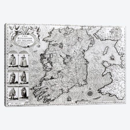 The Kingdom of Ireland, engraved by Jodocus Hondius  Canvas Print #BMN1492} by John Speed Canvas Print