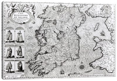 The Kingdom of Ireland, engraved by Jodocus Hondius Canvas Art Print