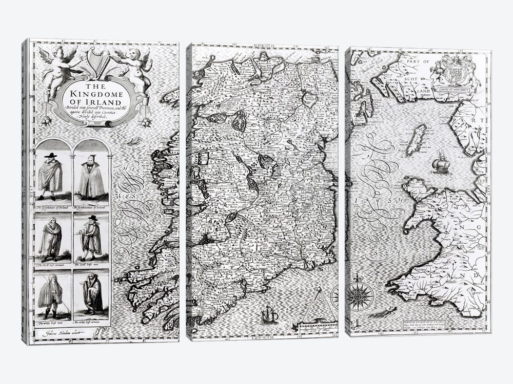 The Kingdom of Ireland, engraved by Jodocus Hondius  by John Speed 3-piece Art Print