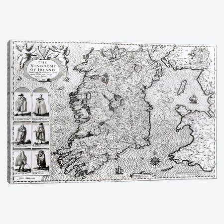 The Kingdom of Ireland, engraved by Jodocus Hondius  Canvas Print #BMN1492} by John Speed Canvas Print