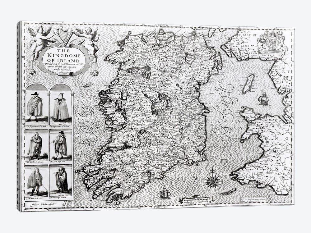 The Kingdom of Ireland, engraved by Jodocus Hondius  by John Speed 1-piece Art Print