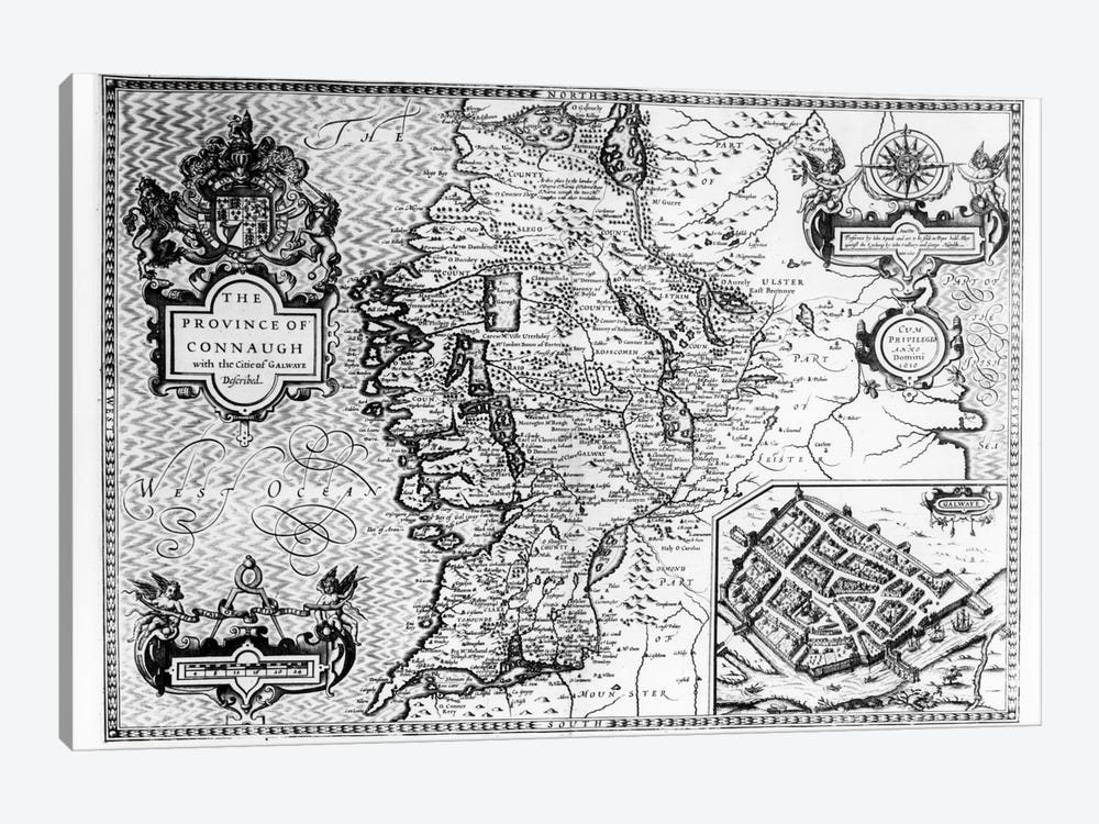 The Province of Connaught with the City of Galway Described, engraved by Jodocus Hondius  by John Speed 1-piece Canvas Wall Art