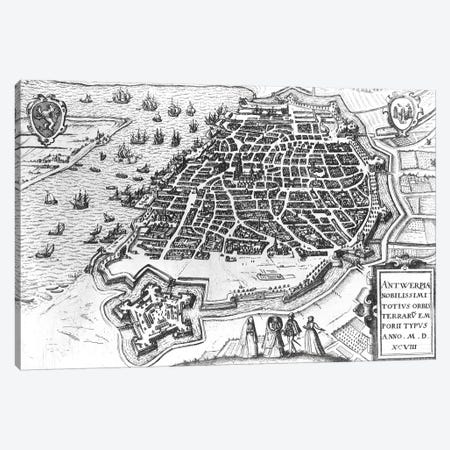 Map of Antwerp, 1598  Canvas Print #BMN1499} by Dutch School Canvas Art Print