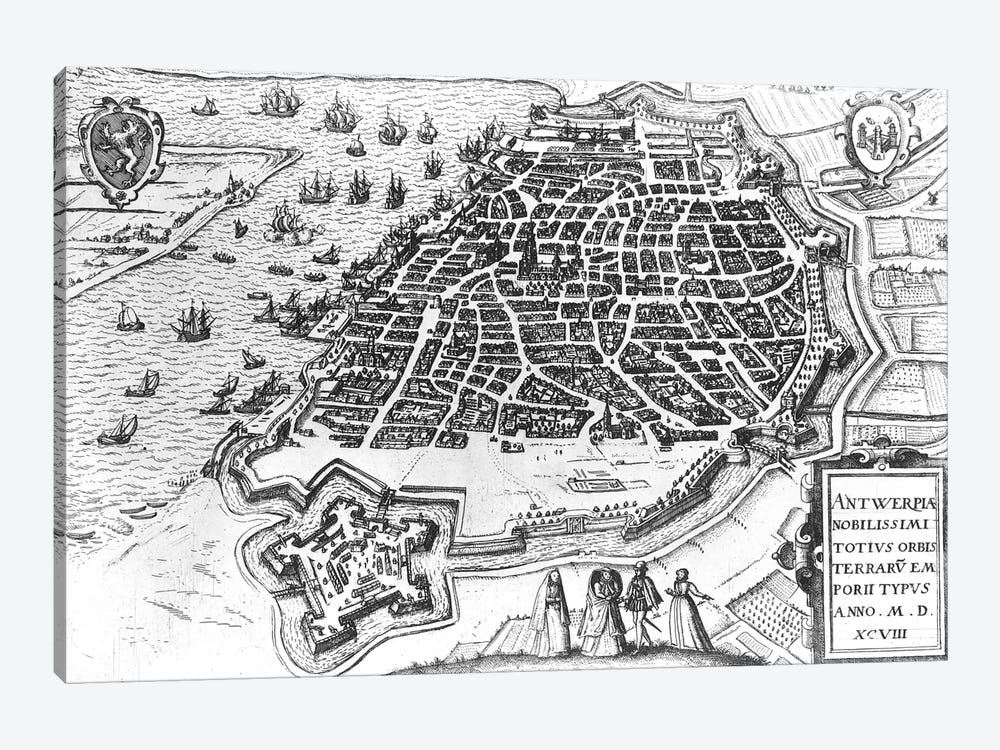 Map of Antwerp, 1598  by Dutch School 1-piece Canvas Artwork