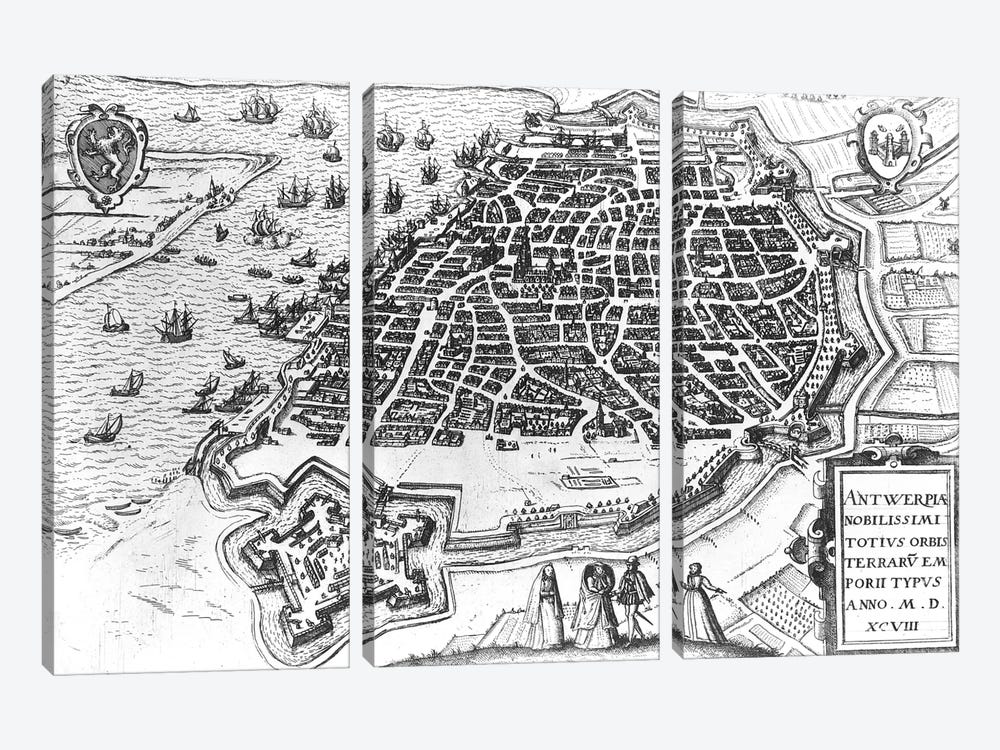 Map of Antwerp, 1598 by Dutch School 3-piece Canvas Wall Art