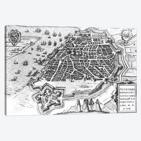 Map of Antwerp, 1598  Canvas Print #BMN1499} by Dutch School Canvas Art Print
