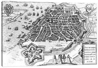 Map of Antwerp, 1598  Canvas Art Print