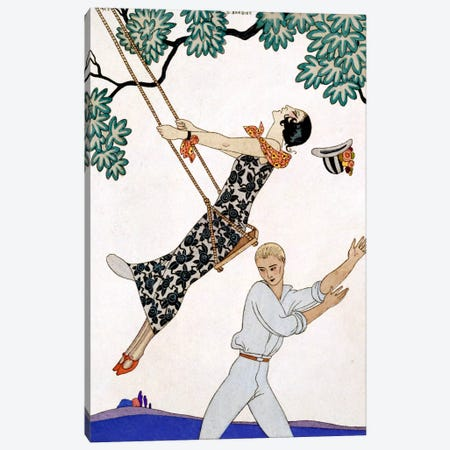 The Swing, 1920s Canvas Print #BMN14} by Georges Barbier Canvas Art