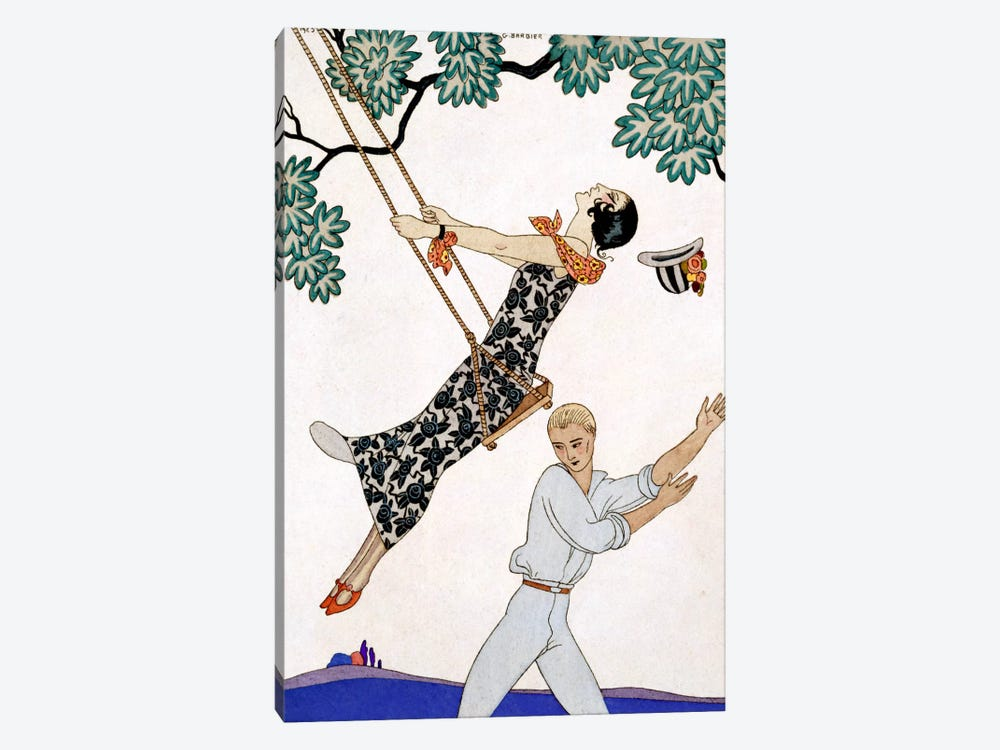 The Swing, 1920s by Georges Barbier 1-piece Canvas Art Print