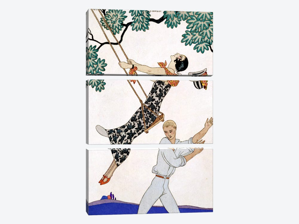 The Swing, 1920s by Georges Barbier 3-piece Canvas Art Print