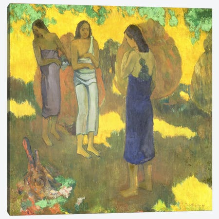 Three Tahitian Women against a Yellow Background, 1899  Canvas Print #BMN1501} by Paul Gauguin Canvas Print