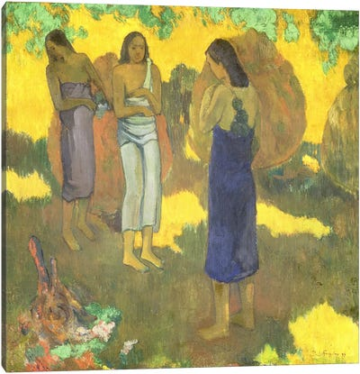 Three Tahitian Women against a Yellow Background, 1899  Canvas Art Print
