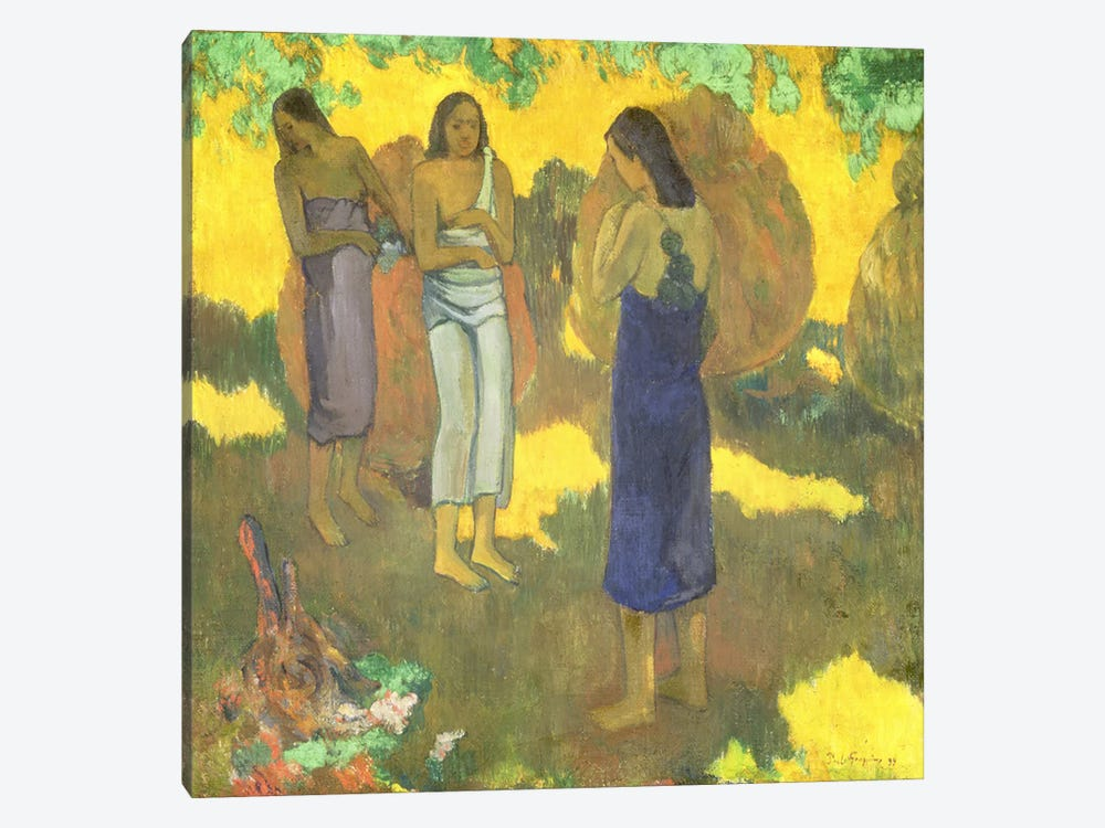 Three Tahitian Women against a Yellow Background, 1899 by Paul Gauguin 1-piece Canvas Wall Art
