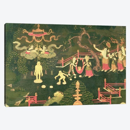 The Life of Buddha Shakyamuni, detail of his Childhood  Canvas Print #BMN1503} by Tibetan School Art Print