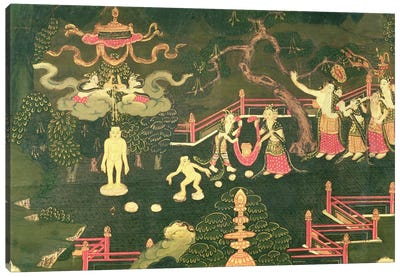 The Life of Buddha Shakyamuni, detail of his Childhood Canvas Art Print