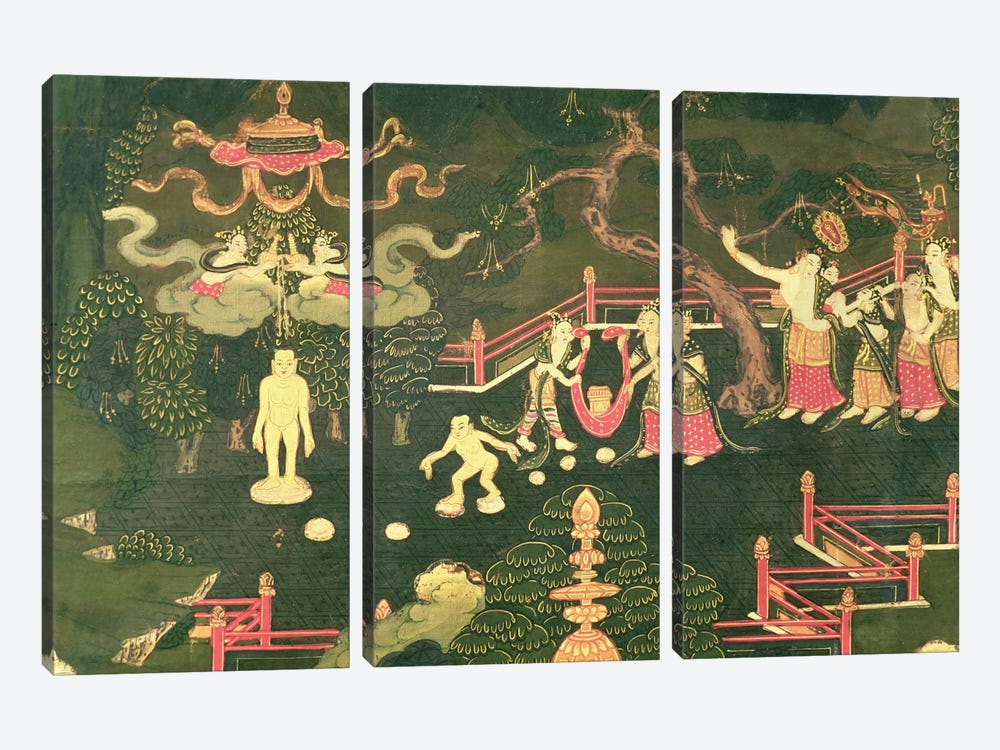 The Life of Buddha Shakyamuni, detail of his Childhood by Tibetan School 3-piece Canvas Artwork