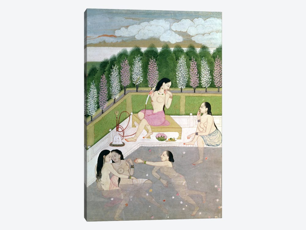Girls Bathing, Pahari Style, Kangra School, Himachel Pradesh, 18th century  by Indian School 1-piece Canvas Print